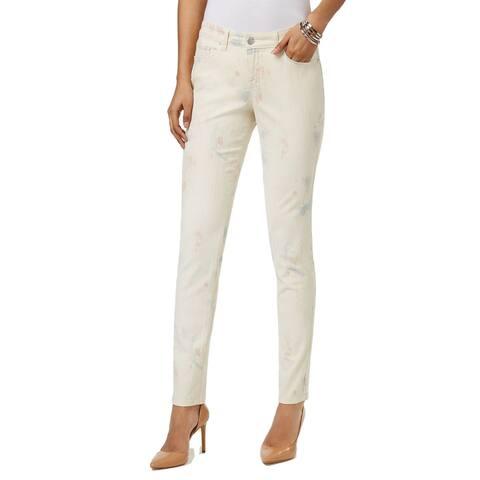 Style & Co Women's Curvy Fit Skinny Jeans Pastel Summer Size 16 - Beige