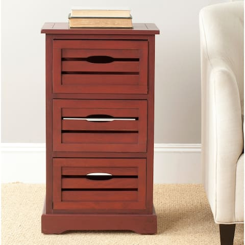 """SAFAVIEH Samara Red Storage 3-Drawer Cabinet - 16.5"""" x 12.6"""" x 29.5"""""""