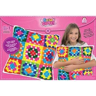Granny Squares Pillow Sew Cute! Crochet Kit-