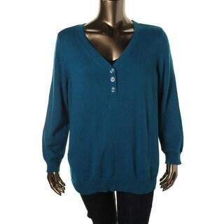 Karen Scott Womens Plus Knit Long Sleeves Henley Sweater