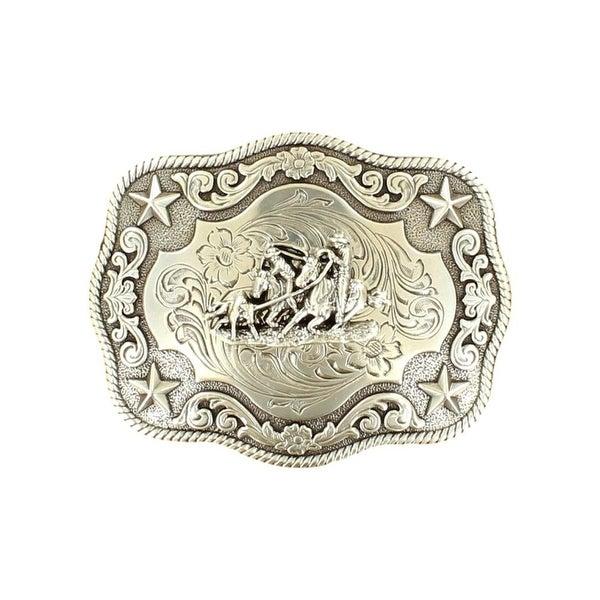 "Nocona Western Belt Buckle Rectangle Team Roper Stars Silver - 3 3/4"" x 3"""