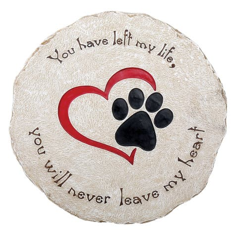 Pawriffic Round Pet Memorial Garden Stone - Headstone Grave Marker Indoor/Outdoor Heart & Paw Print Plaque for Dog or Cat