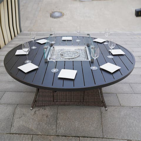 Round Gas Fire Pit Table - (TABLE ONLY)-By Direct Wicker
