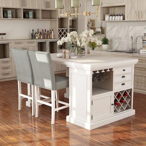 Furniture of America Tia Transitional White 3 Piece Kitchen Island Set