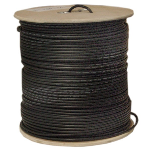 Offex Bulk RG58/AU Coaxial Cable, Black, 20 AWG, Copper Stranded Center Conductor, Braided Shield, Spool, 1000 foot