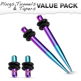 Aqua & Purple Titanium IP 316L Steel Plug & Taper with O-Ring Set Value Pack