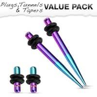 Aqua & Purple Titanium IP 316L Steel Plug & Taper with O-Ring Set Value Pack