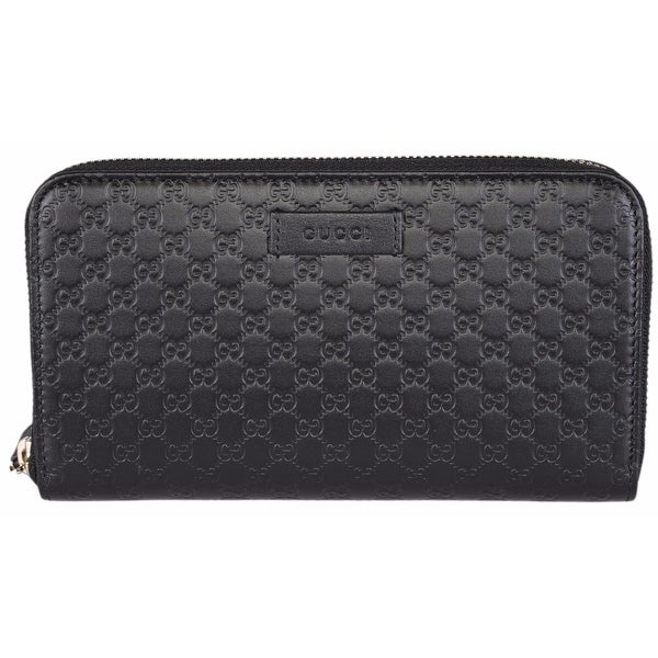 "Gucci Women's 449391 Black Leather Micro GG Guccissima Zip Around Wallet - 7.5"" x 4.5"""
