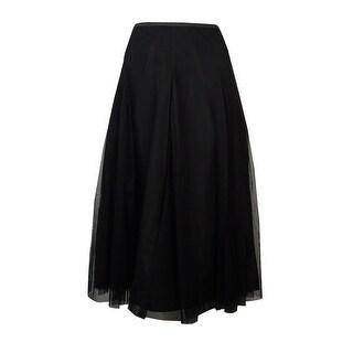 Alex Evenings Women's Tea-Length Mesh A-Line Skirt - Black