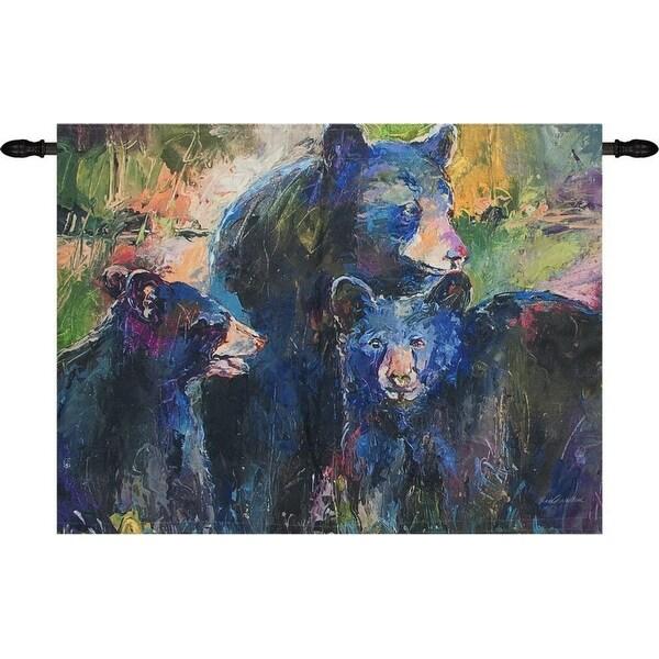 "Black and Green Bear Family Designer Print Wall Hanging 36"" x 26"" - N/A"