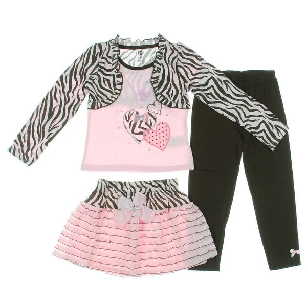 Young Hearts Girls Pant Outfit 3PC Zebra Print