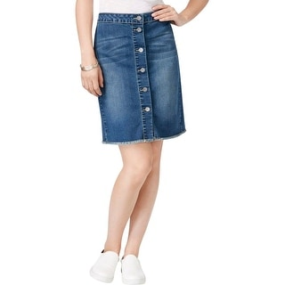 Earl Jean Womens Straight Skirt Denim Button Front