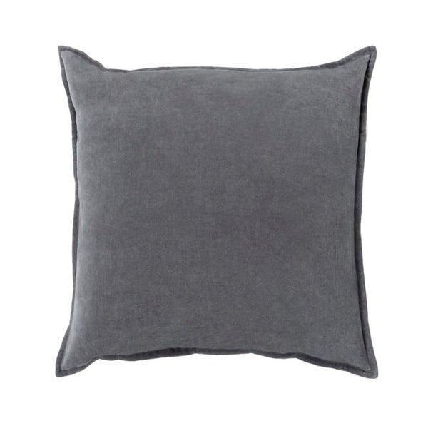 "18""Calma Semplicita Charcoal Gray Decorative Square Throw Pillow - Down Filler"