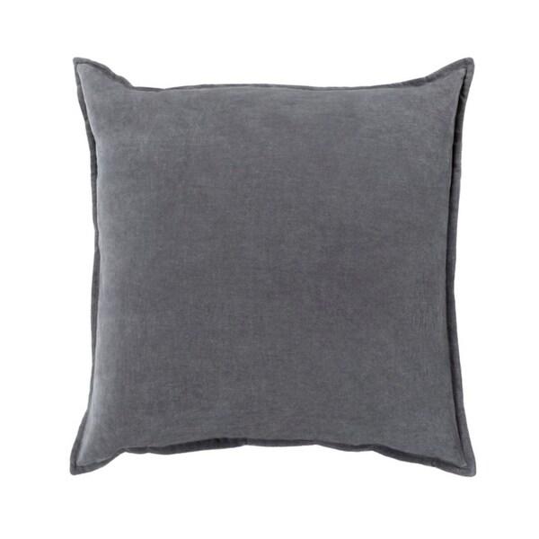 "22""Calma Semplicita Charcoal Gray Decorative Square Throw Pillow - Down Filler"