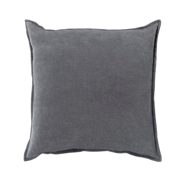 "22""Calma Semplicita Charcoal Gray Decorative Square Throw Pillow"