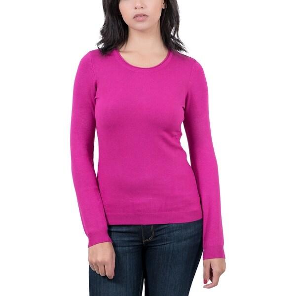 Real Cashmere Fuchsia Crewneck Womens Sweater