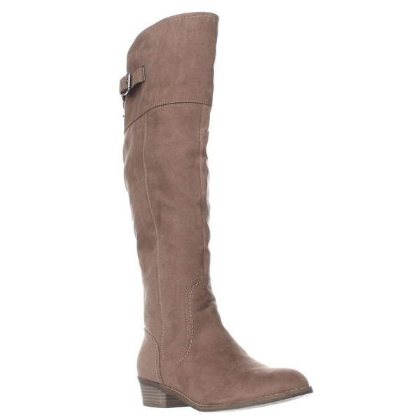 G by GUESS Aikon Back Lace Buckle Tall Boots, Taupe
