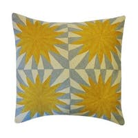 Vivai Home Yellow Four Suns Embroidered Square 24x 24 Cotton Feather Pillow