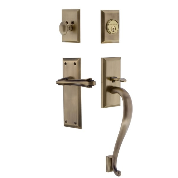Nostalgic Warehouse NYKFLR_ESET_238_SG_RH New York Right Handed Sectional Single Cylinder Keyed Entry Handleset with S Grip and