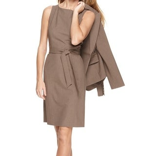 Tahari ASL NEW Brown Womens Size 2 Belted Vented-Hem Sheath Dress