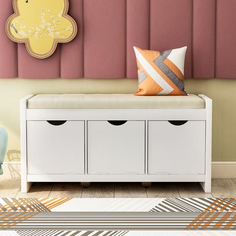 Storage Bench with Removale Cushion and 3 Flip Lock Storage Cubbies
