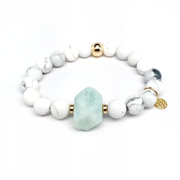 "White Howlite & Aqua Aventurine Rock Candy 7"" Bracelet"