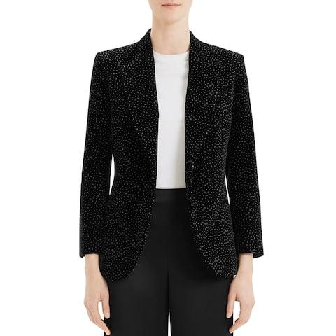 Theory Womens Blazer Velvet Dot Print - Black/White