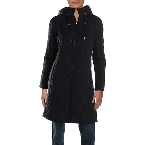 Donna Karan Womens Midi Coat Quilted Winter