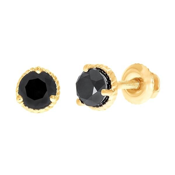 Prism Jewel 4.90MM 1.00 TDW Round Cut Black Diamond Solitaire Screw Back Earring