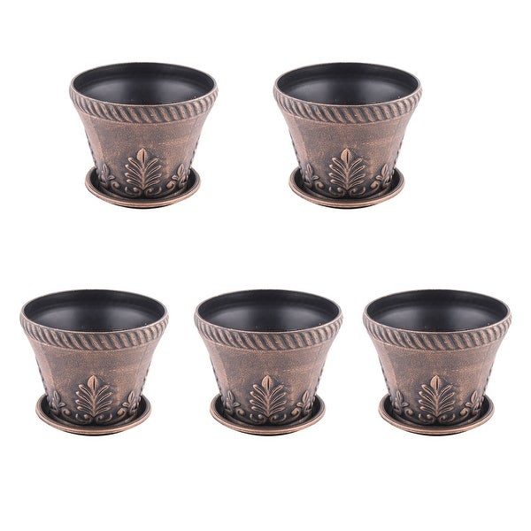 Garden Plastic Desktop Decoration Plant Flower Cactus Pot Copper Tone 5 Pcs