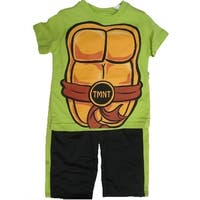 Nickelodeon Little Boys Lime Green Ninja Turtles Sign Print 2 Pc Pants Set 2T-4T