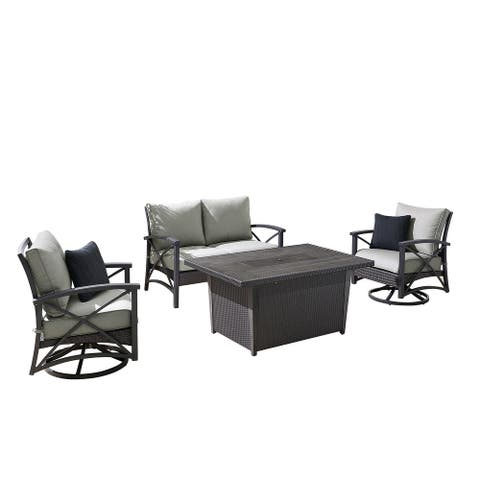 OVE Decors Bentley IV 4-Piece Patio Chat Set with Fire Table