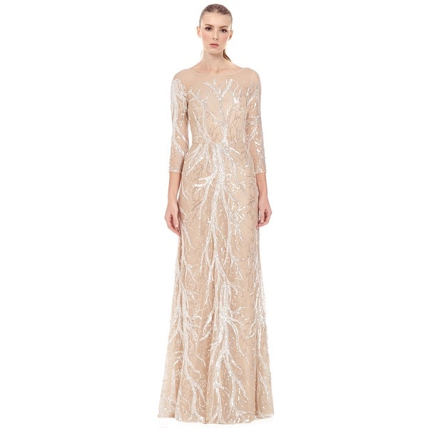 420dedfea44 David Meister Embroidered Sequin 3 4 Sleeve Evening Ball Gown Dress  Nude Silver