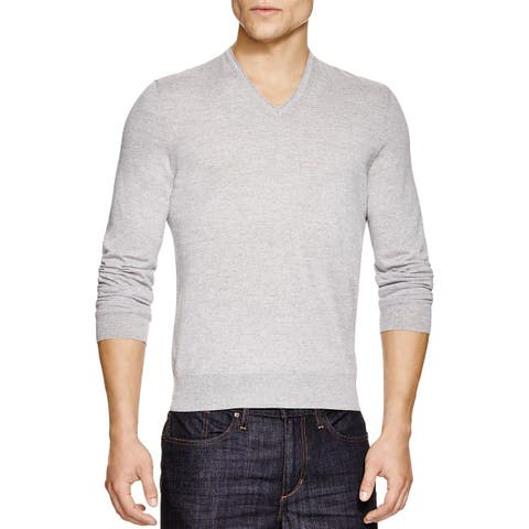 The Men's Store Bloomingdales Extra Fine Merino V-Neck Sweater L Light Grey