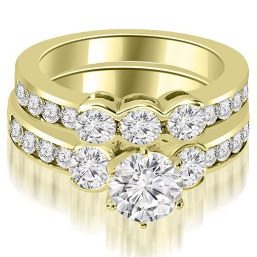 3.00 cttw. 14K Yellow Gold Bezel Set Round Cut Diamond Engagement Set - White H-I