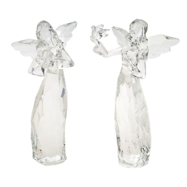 Pack of 6 of an Assortment of 2 Clear Acrylic Christmas Angels 7.25""