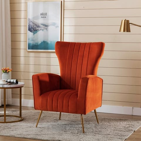 Ladera Velvet Upholstered Wing Back Accent Chair