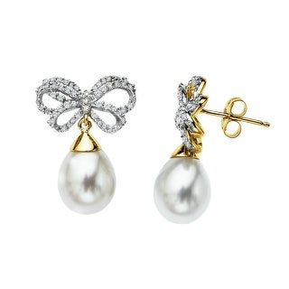 10x8 mm Freshwater Pearl and 1/3 ct Diamond Bow Earrings in 14K Gold
