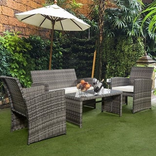 Costway 4 Pc Rattan Patio Furniture Set Garden Lawn Sofa Cushioned Seat Mix  Gray Wicker