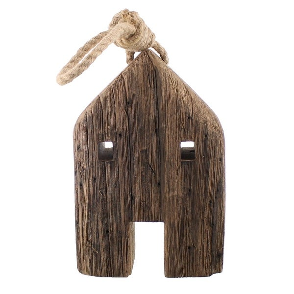 Wooden House Accent Decor with Rope Handle, Brown. Opens flyout.
