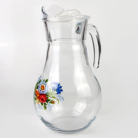 STP Goods 1.9-qt Rosehip Clear Glass Pitcher with Lid