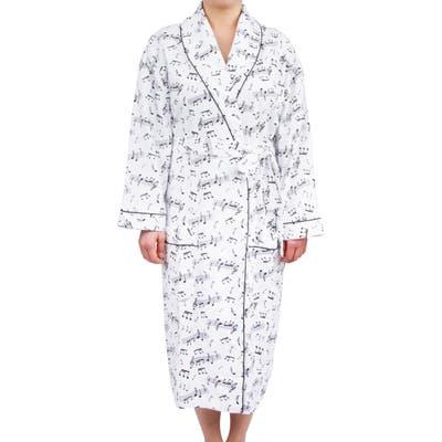 Leisureland Women's Cotton Flannel Novelty Long Robe Music Notes