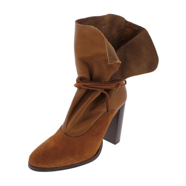 Steve Madden Womens Hangur Ankle Boots Suede Stacked Heel - 10 medium (b,m)