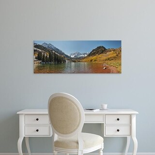 Easy Art Prints Panoramic Images's 'Lake in front of mountains, Maroon Bells, Maroon Lake, Colorado, USA' Canvas Art
