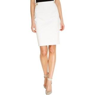 Calvin Klein Womens Pencil Skirt Faux Leather Trim Above Knee