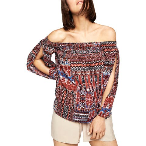 BCBGeneration Womens Pullover Top Printed Off-The-Shoulder