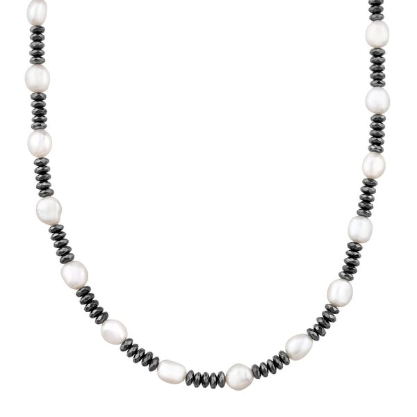 Honora Baroque Freshwater Pearl & Hematite Strand Necklace in Sterling Silver