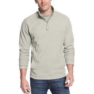 Club Room Silver Birch Quarter-Zip Fleece Pullover Sweater Mockneck