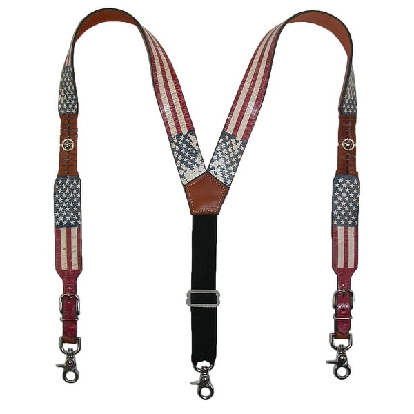 3 D Belt Company Men's Leather Distressed American Flag Clip End Suspenders - One size