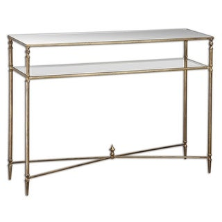 """45"""" Collier Antiqued Gold Leaf, Mirror & Glass Sofa Console Table"""